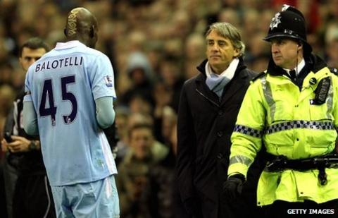 Mario Balotelli is dismissed at Anfield