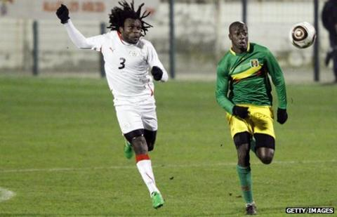 Herve Zengue in action for Burkina Faso
