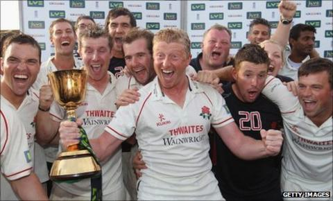 Lancashire celebrate winning the title