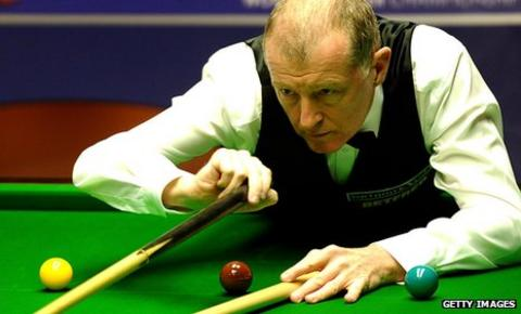 Steve Davis plays a shot with the rest