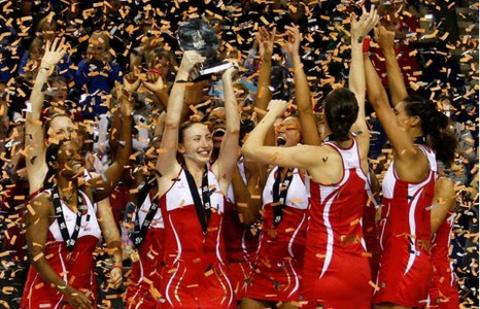 England netball team celebrates