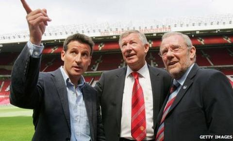 From left, Lord Coe, Sir Alex Ferguson and Richard Caborn at Old Trafford during their visit to the north west in 2006
