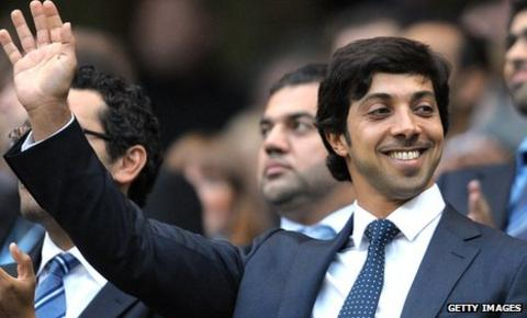 Sheikh Mansour at the Etihad Stadium