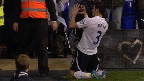 Gareth Bale celebrates scoring for Tottenham