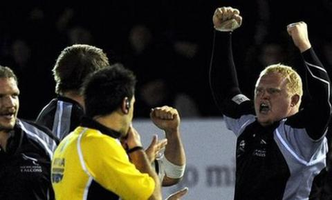 Kevin Wells celebrates Newcastle's win over Gloucester