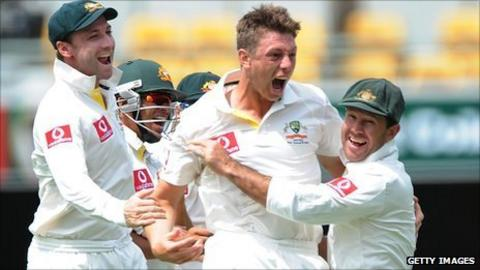 James Pattinson celebrates