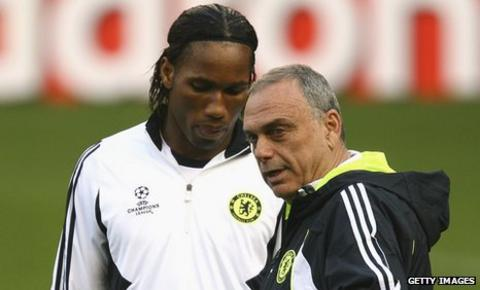 Didier Drogba and Avram Grant