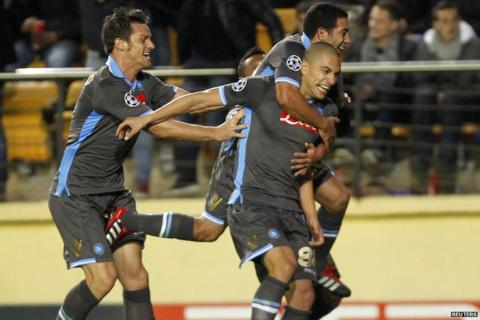 Gokhan Inler scores the first goal for Napoli