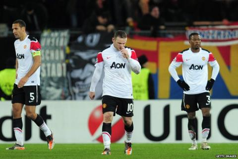 United players look dejected after exiting the Champions League