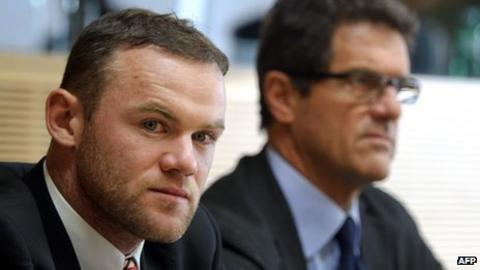 Wayne Rooney and Fabio Capello at the Uefa hearing