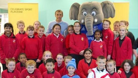 Phil Neville and children