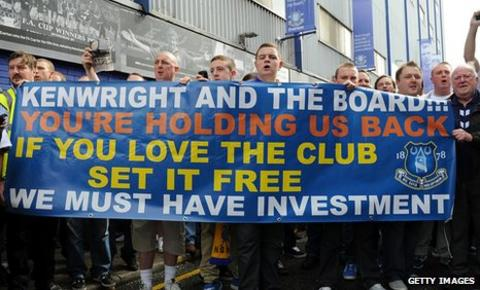 Everton fans protest outside Goodison Park