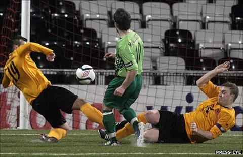 Eamon McAllister shoots Donegal Celtic into a first-half lead at Seaview