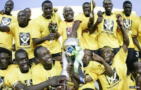 Uganda celebrate with the Cecafa trophy
