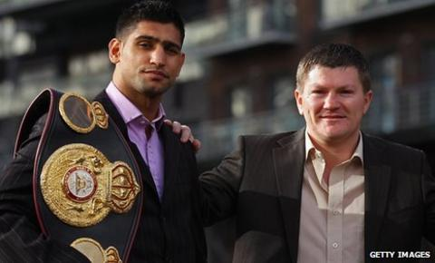 Ricky Hatton, right, promoted Amir Khan's fight against Paul McCloskey