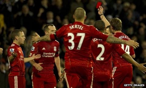 Jay Spearing is sent off against Fulham