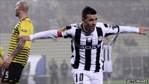 Antonio Di Natale levelled for Udinese on the stroke of half-time