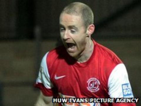 Fleetwood's Peter Cavanagh celebrates his winner against Newport