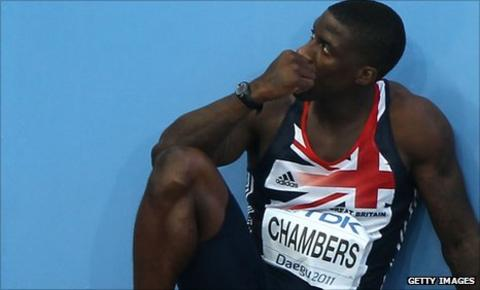 Dwain Chambers after being disqualified for a false start at the World Athletics Championships in August