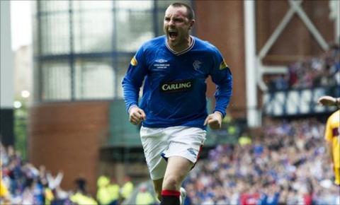 Kris Boyd celebrates with Rangers