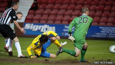 Dunfermline goalkeeper Chris Smith had a poor game for the Pars