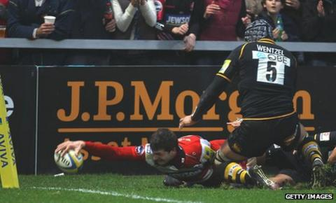 Jonny May scores his second try for Gloucester