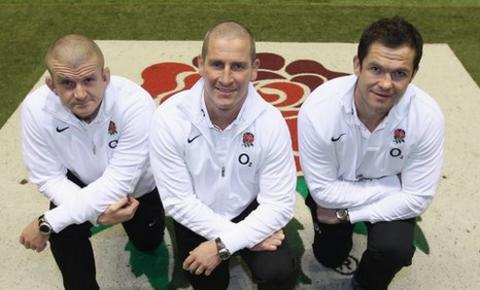 Graham Rowntree (left), Stuart Lancaster and Andy Farrell (right)