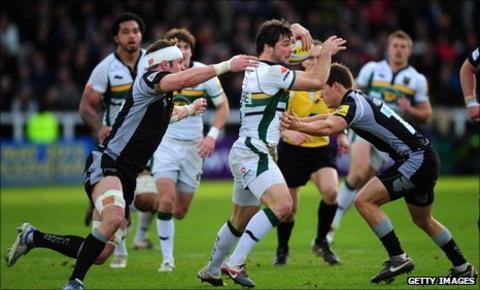 Northampton Saints full-back Ben Foden makes a break during the Premiership match against Newcastle Falcons