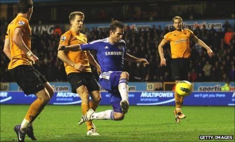 Frank Lampard steers in his 89th-minute winner