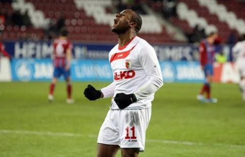 Rafael Nando celebrates a goal for Augsburg