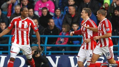 Stoke City striker Cameron Jerome (left) celebrates his goal in the FA Cup win at Gillingham