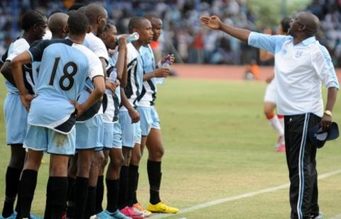Botswana coach Stanley Tshosane instructs his squad