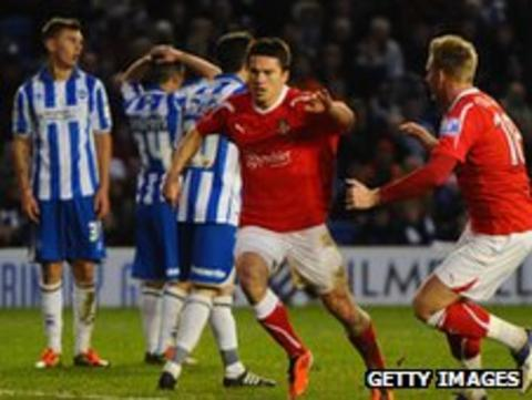 Wrexham equalise in their FA Cup third round tie against Brighton