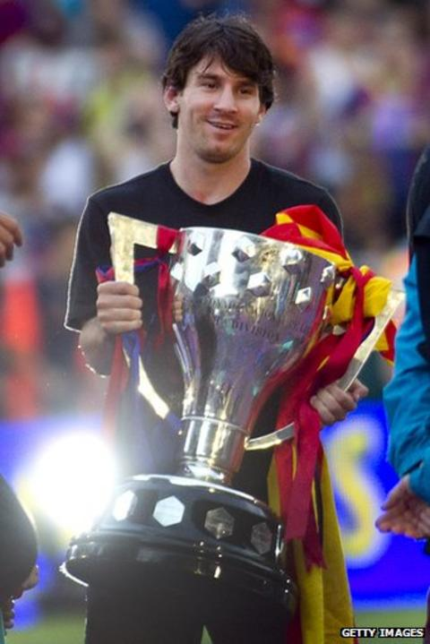 Messi poses with La Liga trophy