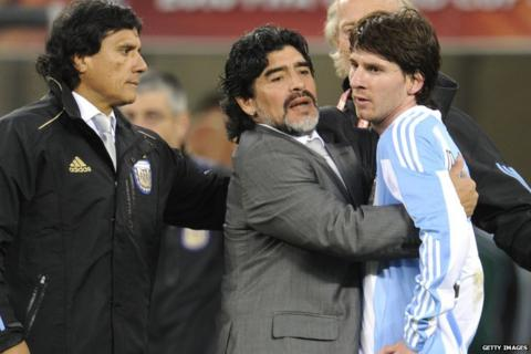Messi with Diego Maradona
