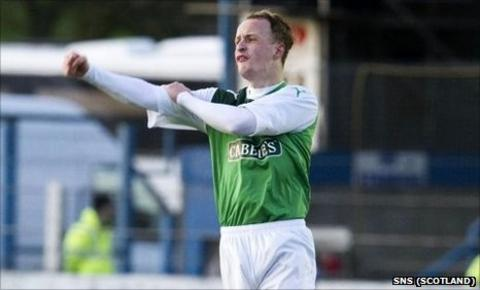Leigh Griffiths gestures to fans