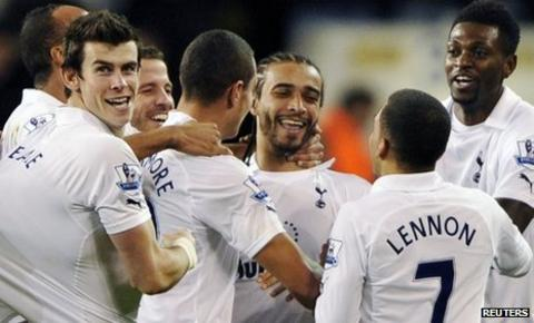 Tottenham celebrate Benoit Assou-Ekotto's spectacular strike against Everton