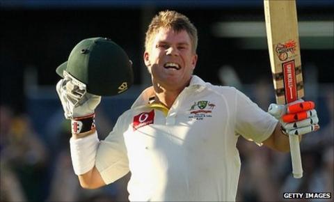 Australian cricketer David Warner hits the fourth fastest Test century against India