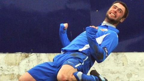 Glenavon player/manager Gary Hamilton celebrates after scoring in the win over Portadown
