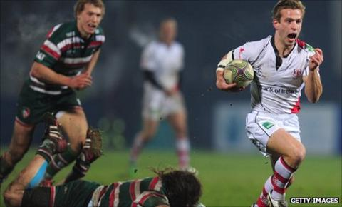 Paul Marshall of Ulster scores a try