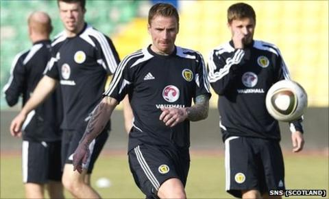 Ryan Stevenson trains with the Scotland squad