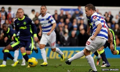 QPR striker Heidar Helguson opens the scoring against Wigan