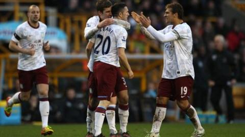 Aston Villa celebrate Robbie Keane's goal