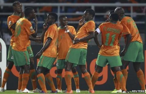 Zambia celebrate their opener against Senegal