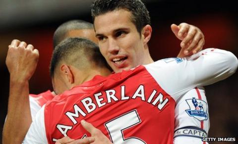 Arsenal's Robin Van Persie denies rift with Arsene Wenger