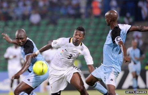Asamoah Gyan in action against Botswana