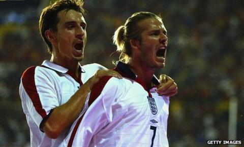 Gary Neville, left, with David Beckham