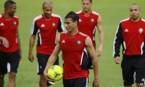 Marouane Chamakh (centre) trains with his Morocco team-mates ahead of their game against Gabon