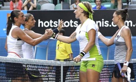 Sara Errani and Roberta Vinci congratulate Svetlana Kuznetsova and Vera Zvonareva