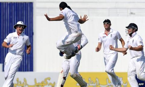 Panesar celebrates after bowling Younus Khan